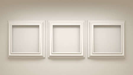 White architectural background with a frame in the interior.3d rendering, 3d illustration. Stock Photo