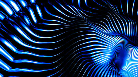 Stylish metallic black background with lines and waves. 3d rendering 3d illustration.