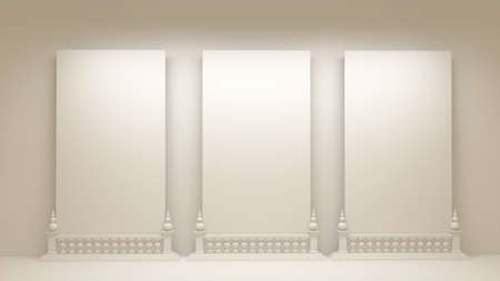 White background with architectural interiors.3d rendering