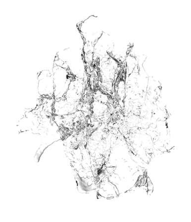 Isolated transparent splash of water splashing on a white background. 3d rendering,   3d illustration.