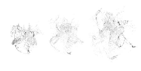 Isolated transparent splash of water splashing on a white background. 3d rendering, 3d illustration. Imagens
