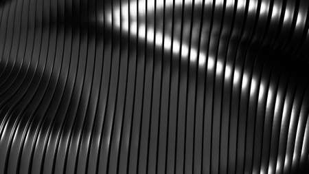Black, stylish, modern metallic background with smooth lines. 3d rendering, 3d illustration. Imagens