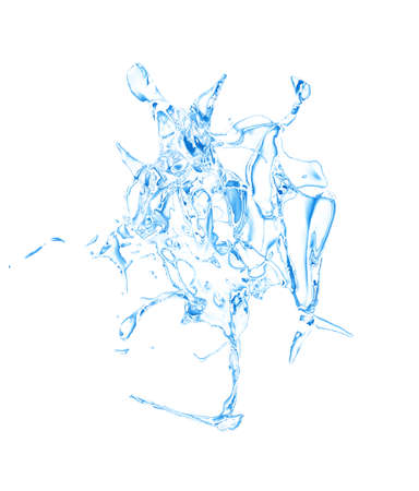 Isolated blue splash of water splashing on a white background. 3d rendering, 3d illustration. Imagens