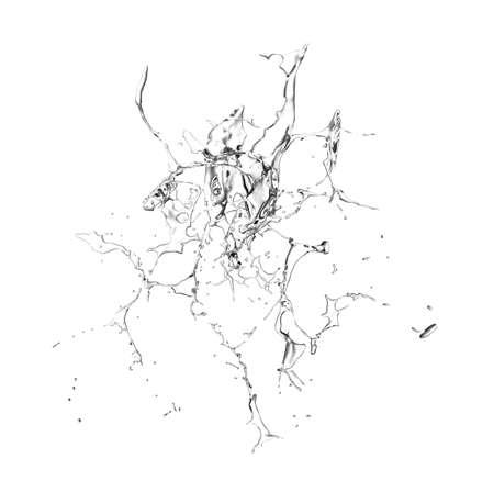 Salpicaduras de agua transparente aislado sobre un fondo blanco. Representación 3d, ilustración 3d.