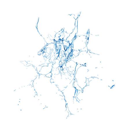 Salpicaduras de agua azul aislado sobre un fondo blanco. Representación 3d, ilustración 3d.