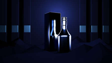 Black abstract background with elite alcohol. A bottle of cognac. 3d rendering, 3d illustration. 免版税图像