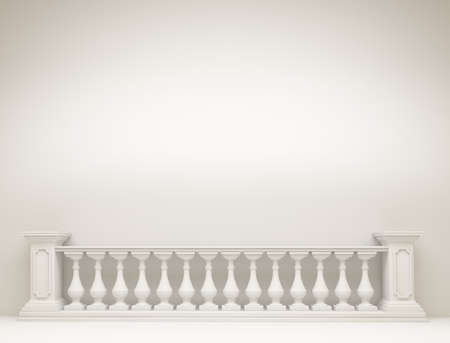 White background with  balustrade.3d rendering,   3d illustration. Banque d'images