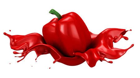 Beautiful, abstract red background with isolated pepper and splash of juice. 3d rendering, 3d illustration. Stockfoto
