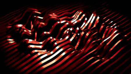 Stylish red metallic black background with lines and waves. 3d rendering  3d illustration.