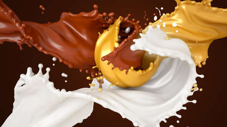Beautiful, sweet, tasty background splashes of chocolate, milk and honey. 3d rendering, 3d illustration.