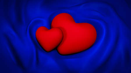 Beautiful blue background with folds of fabric and hearts. 3d rendering, 3d illustration.