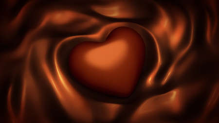 Beautiful background of chocolate brown with heart and folds of fabric, silk.  3d rendering, 3d illustration. 스톡 콘텐츠