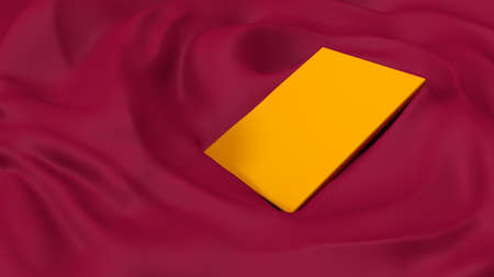 Glamorous pink background with folds of fabric and gold plane.  3d rendering, 3d illustration. Stock Photo
