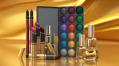 Decorative cosmetics, 3d rendering 3d illustration