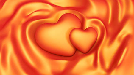 Luxury orange background with waves and hearts. 3d rendering, 3d illustration.