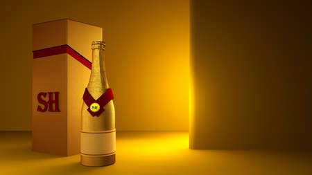 Beautiful yellow background with a bottle of champagne gold, matte packaging and stylish interior.3d rendering, 3d illustration. Foto de archivo - 134802019