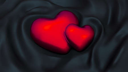 Stylish black background with red hearts.  3d rendering, 3d illustration.