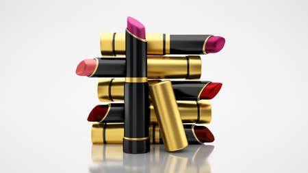 Lipstick on a white background. The tube, bottle, style, makeup, lips, beauty, make-up, facials Cosmetics 3d rendering 3d illustration Zdjęcie Seryjne
