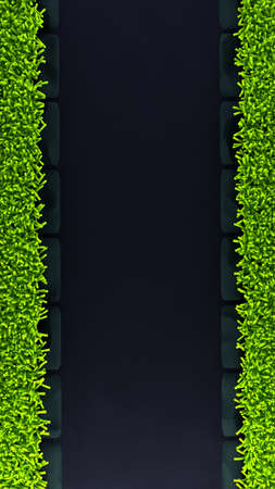 Black spring background with green grass (carpet) and the rim. 3d rendering, 3d illustration. 写真素材