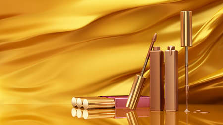 Golden background with lip gloss on a background of moving fabric. Cosmetics, beauty, fashion, make-up, makeup, lipstick. 3d rendering, 3d illustration. Stock Photo