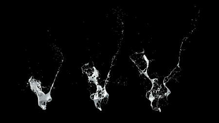 Collection isolated bursts white black background.3d rendering, 3d illustration.