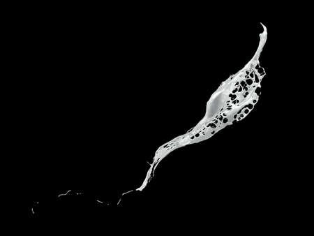 White splash isolated black background. 3d rendering, 3d illustration.