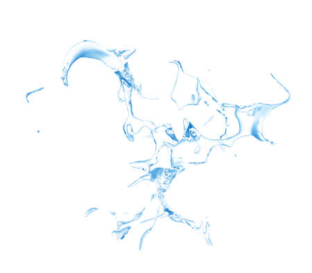 Isolated blue splash of water splashing on a white background. 3d rendering, 3d illustration. Stock Photo