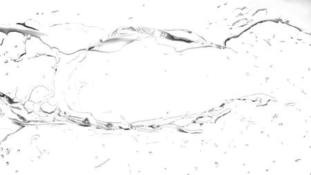 Isolated transparent splash of water splashing on a white background. 3d rendering, 3d illustration. Stock Photo