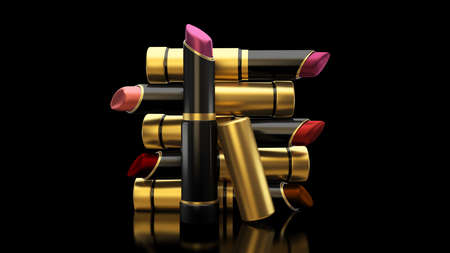 Lipstick on a black background. The tube, bottle, style, makeup, lips, beauty, make-up, facials Cosmetics 3d rendering 3d illustration