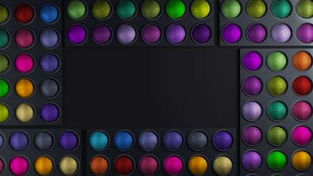 Decorative cosmetics, eye shadow. Beauty, fashion, gloss, makeup, make-up care  3d rendering 3d illustration Stok Fotoğraf