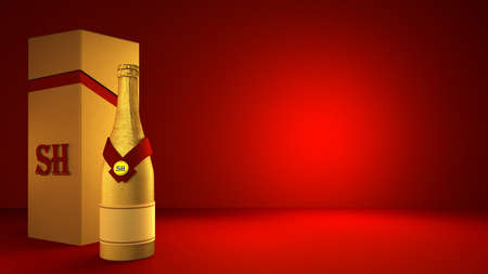 Beautiful red background with golden champagne bottle and packaging in the studio. 3d rendering, 3d illustration.