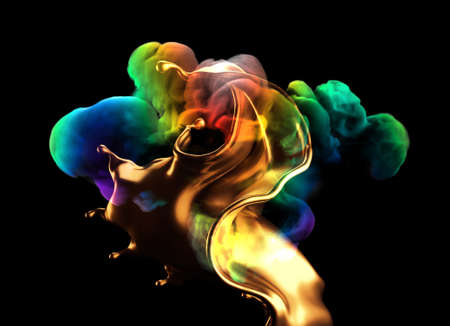 Splash of gold and smoke rainbow color on a black background. 3d rendering, 3d illustration.