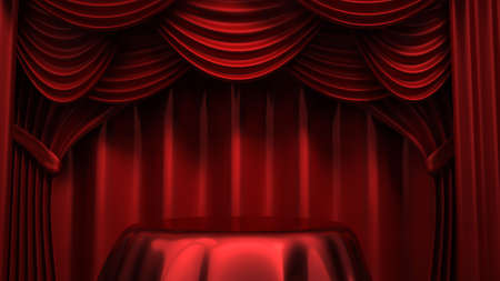 Beautiful, abstract background with curtain fabric, drape, pedestal, banner, frame. 3d rendering, 3d illustration.