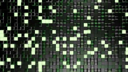 Green black metallic background with hexagons. 3d rendering, 3d illustration.