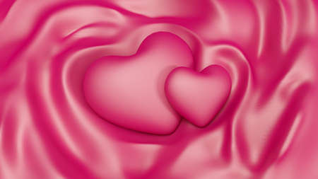 Glamorous, romantic, pink background with hearts Valentines Day, and the folds of fabric. 3d rendering, 3d illustration.