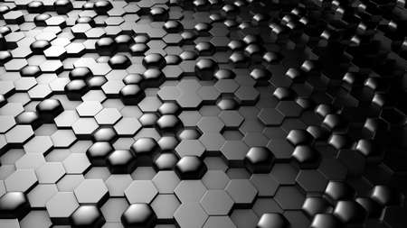 Silver black metallic background with hexagons.3d rendering, 3d illustration.