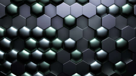 Green black metallic background with hexagons.3d rendering, 3d illustration. Zdjęcie Seryjne
