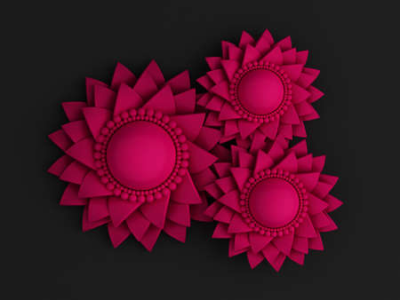 Beautiful, elegant paper flower in the style of hand-made on a white wall. 3d rendering, 3d illustration.