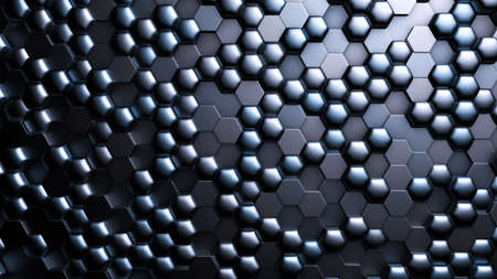 Blue black metallic background with hexagons. 3d rendering, 3d illustration.