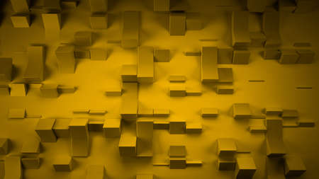 Yellow abstract background with three-dimensional shapes, 3d rendering, 3d illustration.