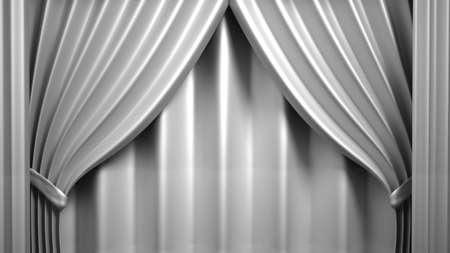 Schöner, abstrakter Hintergrund mit Vorhangstoff, Drapierung, Sockel, Banner, Rahmen 3D-Rendering 3D-Darstellung
