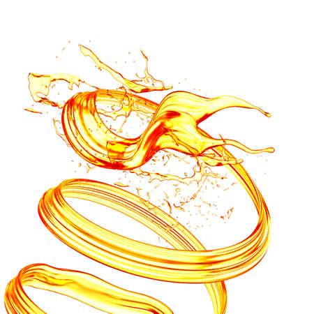 Splash orange juice isolated white background. 3d rendering, 3d illustration.