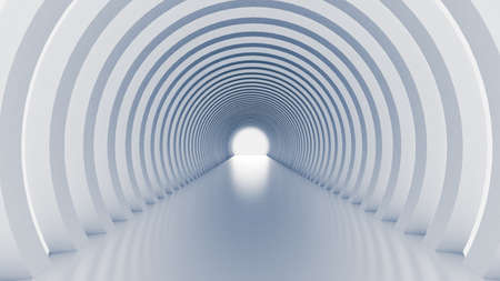 Weißer Tunnel und Licht. 3D-Rendering, 3D-Darstellung. Standard-Bild