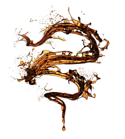 Isolated coffee splash on white background. 3d rendering, 3d illustration.