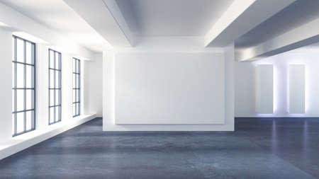 White interior room. 3d rendering, 3d illustration.
