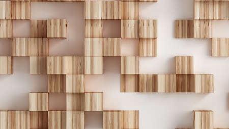 White abstract background with wooden cubes.3d rendering, 3d illustration.