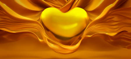 Glamorous yellow background with a beautiful, flowing fabric and a heart of gold . 3d rendering, 3d illustration.