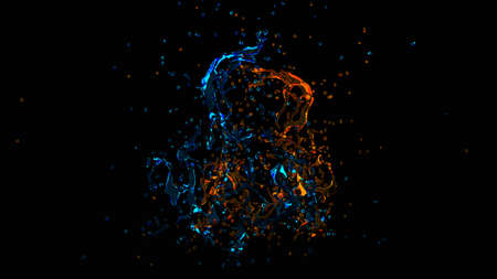 Beautiful splash of water isolated on a black background. 3d rendering, 3d illustration.