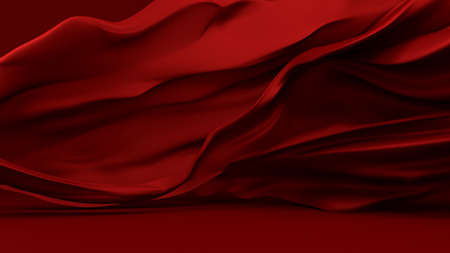 luxurious red background with cut-red fabric . 3d rendering, 3d illustration. Reklamní fotografie