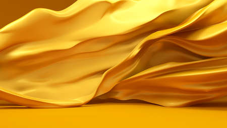 Beautiful golden fabric, developing the wind . 3d rendering, 3d illustration.